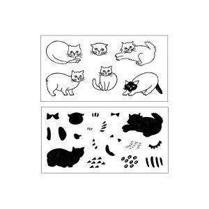 画像4: 松尾ミユキ×水縞 自在ハンコぬりえセット 小動物 猫